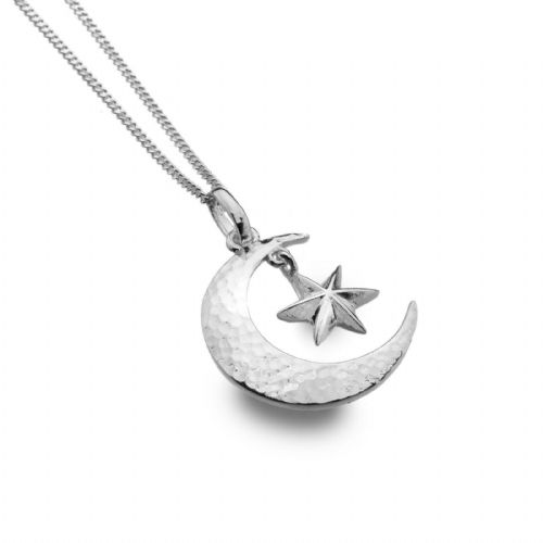 Moon and Star Pendant Necklace Sterling Silver 925 Hallmark All Chain Lengths